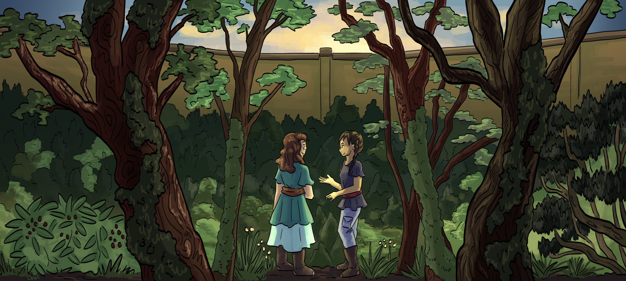 a digital illustration of two characters at sunrise in a forest valley, overlooking the valley and the yellow wall surrounding it