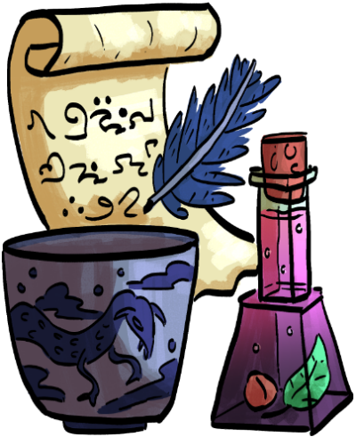 witch items- a scroll with fancy writing and a blue quill, a blue pot with a dragon, and a potion jar with a leaf and nut