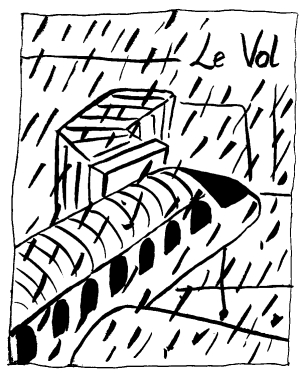 a pen and ink drawing of a plane at a gate, waiting in heavy rain