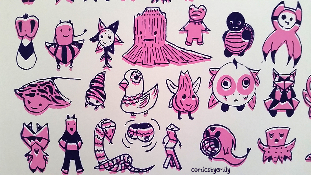 A selection from a screen print of many different monsters with weird bodies and purple and pink coloring.
