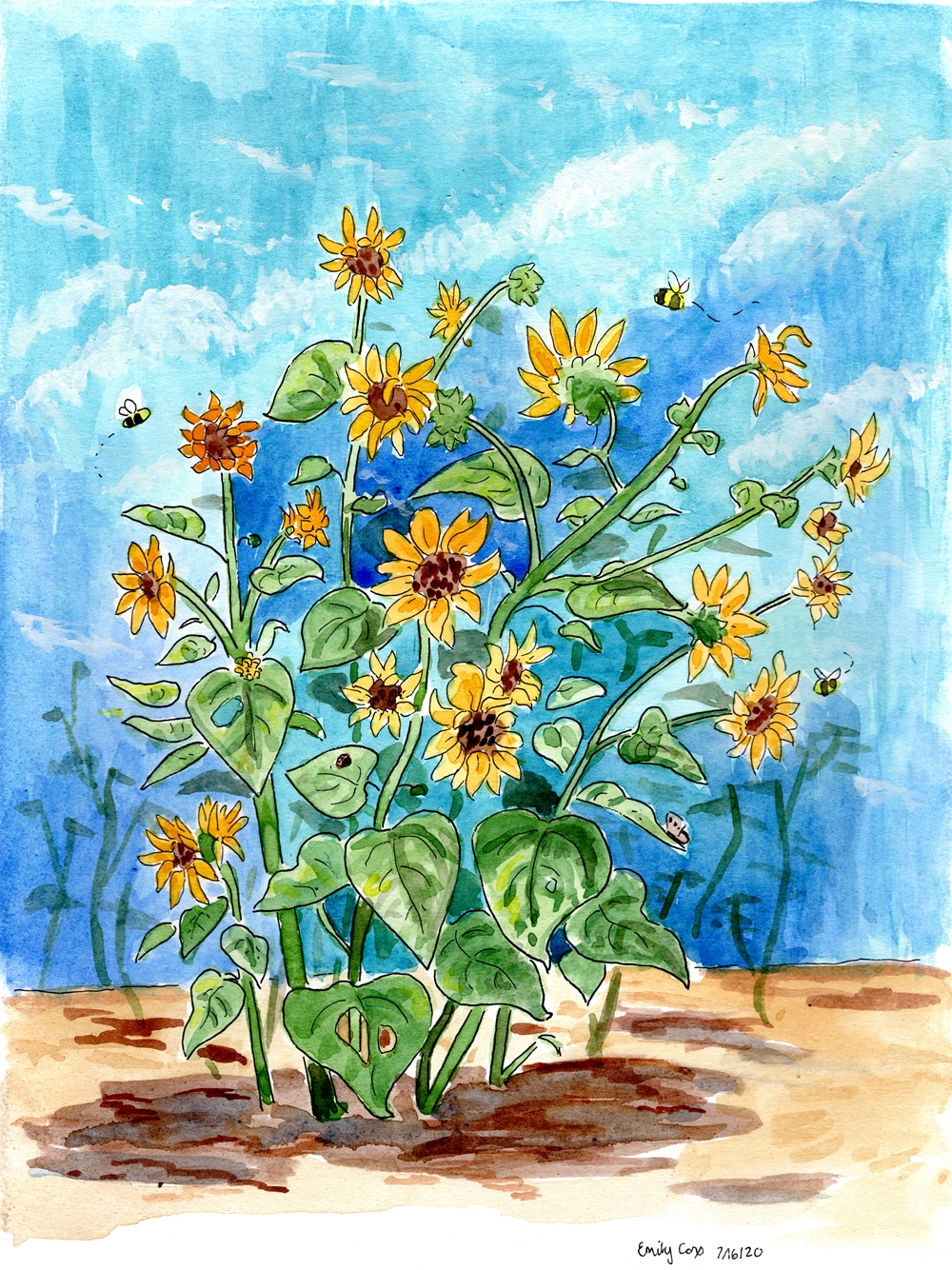 a sunflower plant against a blue sky, in a watercolor painting.