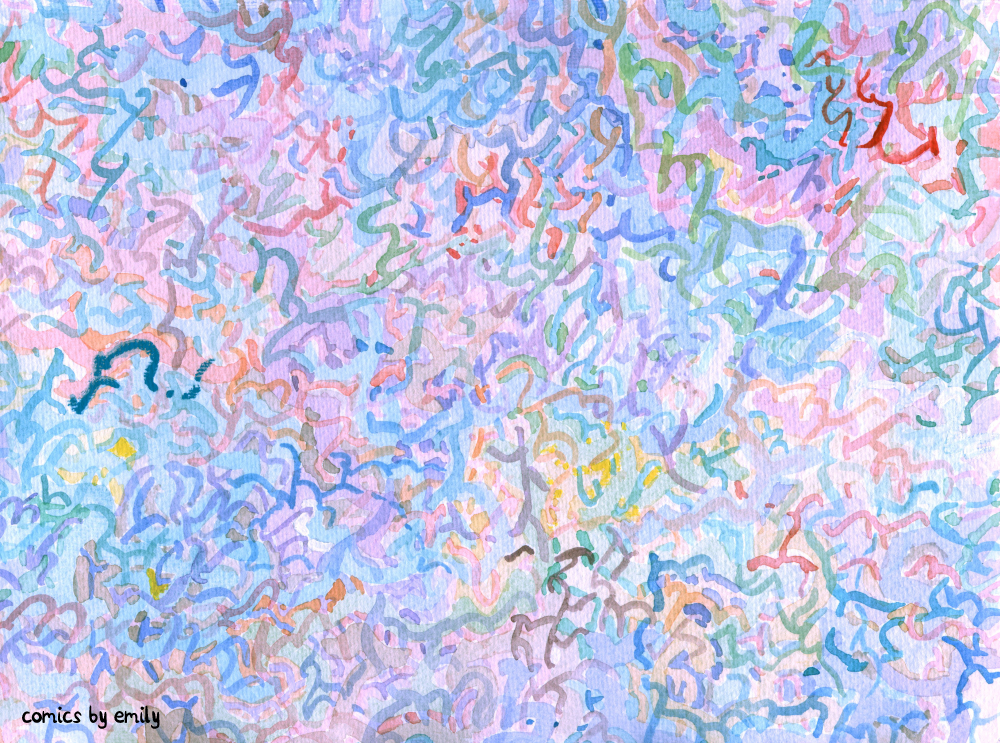 An abstract watercolor painting of thin blue, purple, and red squiggles