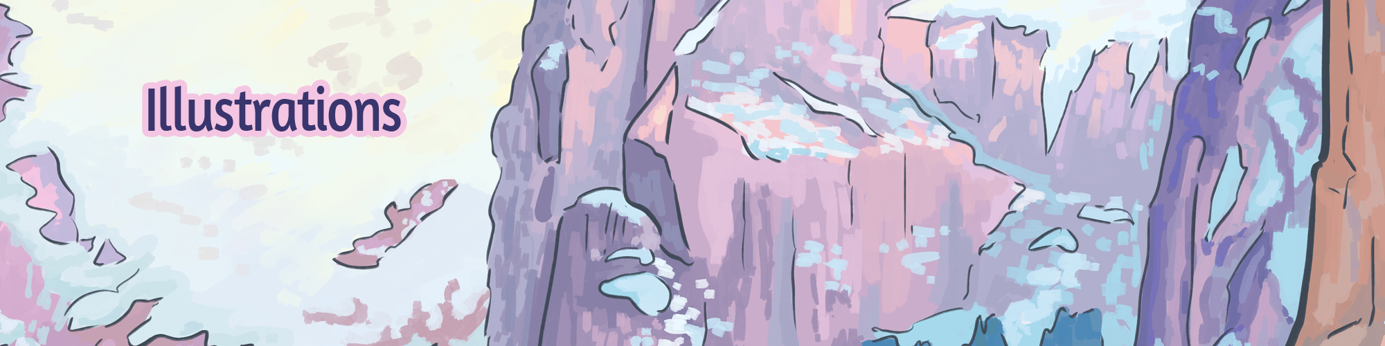 a digital drawing of purple and pink cliffs