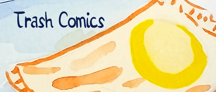 Trash Comics banner, featuring a plastic bag floating on water