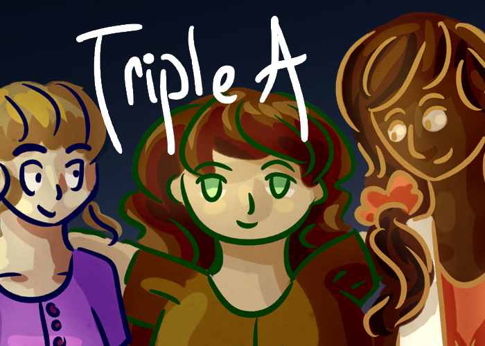 Triple A banner, featuring the three main characters