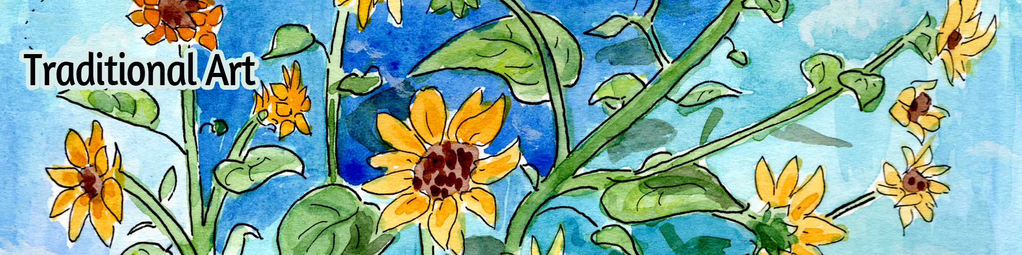 a watercolor illustration of sunflowers