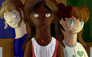 the three main characters of the Triple A comic, looking forward and smiling