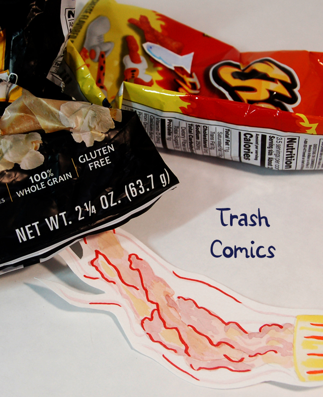 title image for trash comics. Two bags of chips and a watercolor jellyfish frame the words trash comics